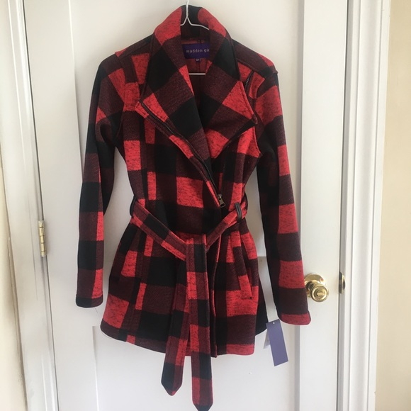 8799995cb6778 Madden girl red plaid pea coat NWT small